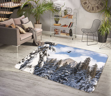 3D Heavy Snow Forest 1155 Marco Carmassi Rug Non Slip Rug Mat