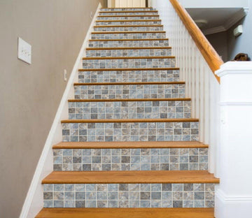 3D Elegant Square Mosaic 6517 Marble Tile Texture Stair Risers Wallpaper AJ Wallpaper