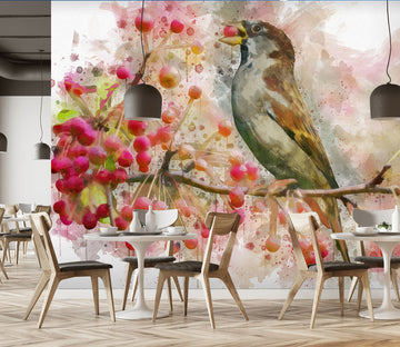 3D Bird Fruit 143 Wall Murals