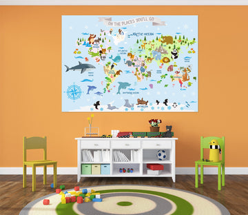 3D Animal World 282 World Map Wall Sticker
