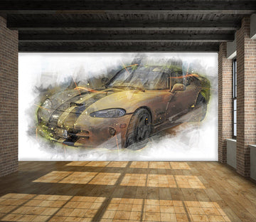 3D Golden Atuo 913 Vehicle Wall Murals