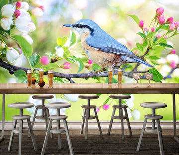 3D Blue Bird 337 Wall Murals