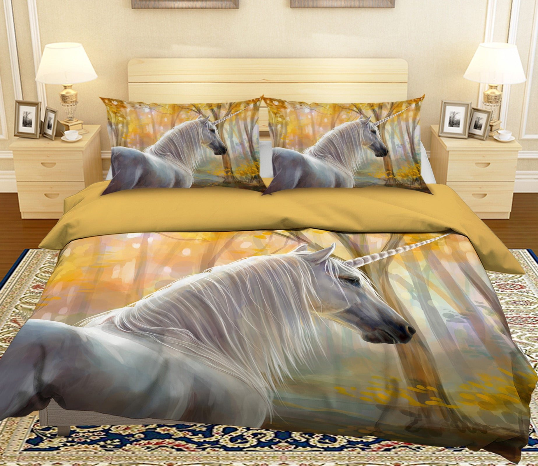3D Forest Unicorn 029 Bed Pillowcases Quilt
