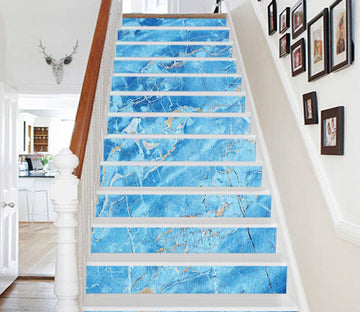 3D Blue Ocean 0661 Marble Tile Texture Stair Risers Wallpaper AJ Wallpaper