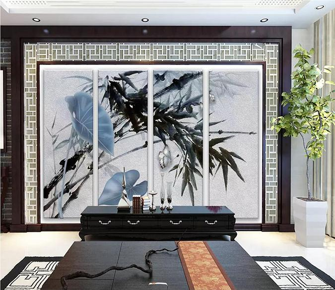 3D Bamboo Leaves 1689 Wall Murals Wallpaper AJ Wallpaper 2