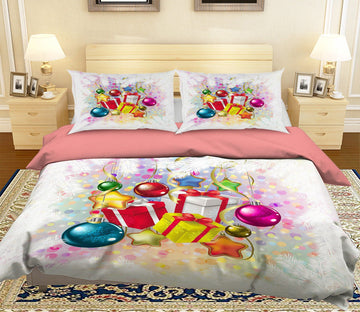 3D Christmas Colorful Ball Gift 46 Bed Pillowcases Quilt