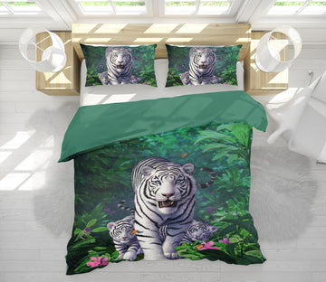 3D White Tigers 18077 Jerry LoFaro bedding Bed Pillowcases Quilt