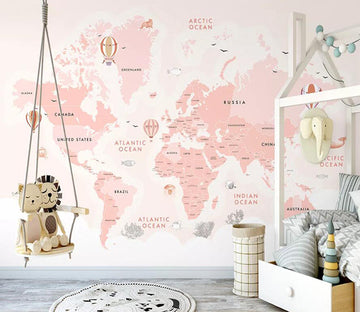 3D Pink Map 1511 Wall Murals