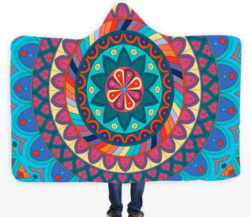 3D Red Petals 093 Hooded Blanket