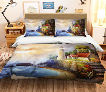 3D Seaside Lighthouse 091 Bed Pillowcases Quilt