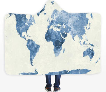 3D Blue World Map 341 Hooded Blanket