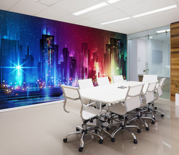 3D Night Building 043 Wall Murals