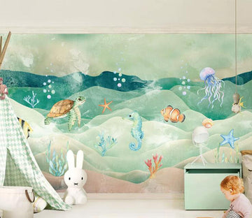 3D Sea Turtle Sea Horse WC206 Wall Murals