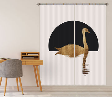 3D Golden Swan 1124 Boris Draschoff Curtain Curtains Drapes
