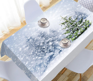 3D Snowy Christmas Tree 1 Tablecloths Tablecloths AJ Creativity Home