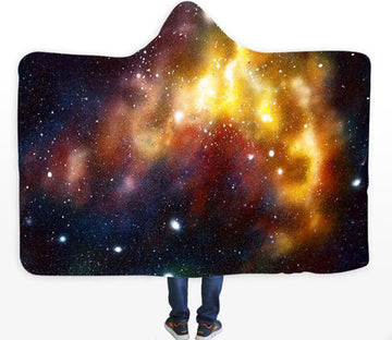 3D Yellow Galaxy 128 Hooded Blanket