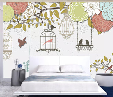 3D Birdcage Flower WC148 Wall Murals