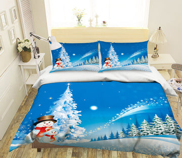 3D Christmas White Snow Ttree 25 Bed Pillowcases Quilt