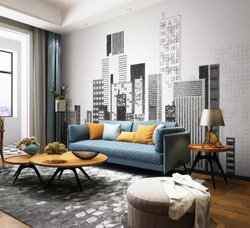 3D Grey City 510 Wall Murals