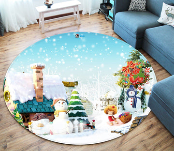 3D Christmas Decoration Chair 053 Round Non Slip Rug Mat Mat AJ Creativity Home
