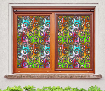 3D Color Ironweave 162 Window Film Print Sticker Cling Stained Glass UV Block