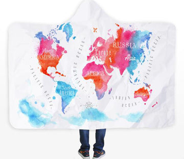 3D Pink Map 580 Hooded Blanket