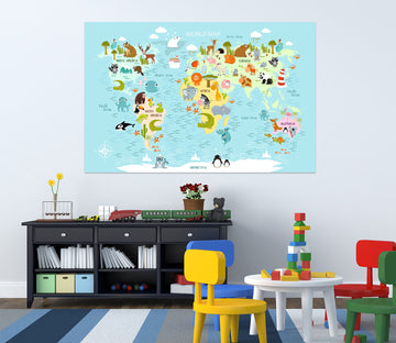3D Animal Home 275 World Map Wall Sticker