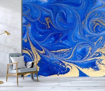 3D Golden-Blue Sand Texture 044 Wall Murals