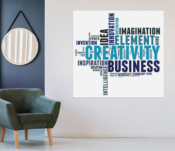 3D Blue Word Map 1072 Wall Sticker