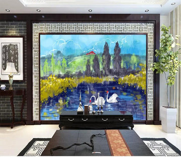 3D Swan Lake 1720 Wall Murals