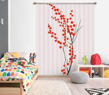 3D Red Flower Pattern 1138 Boris Draschoff Curtain Curtains Drapes