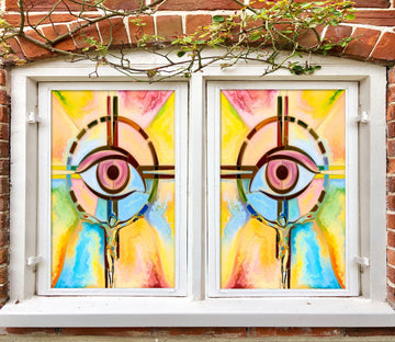 3D Eye Pattern 172 Window Film Print Sticker Cling Stained Glass UV Block