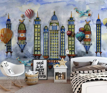 3D Building Balloon WC808 Wall Murals