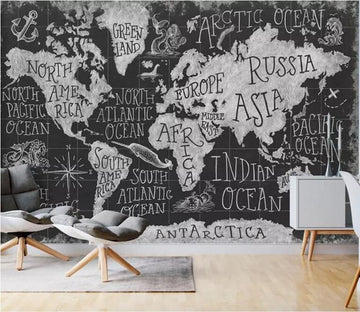 3D Black Map 1385 Wall Murals Wallpaper AJ Wallpaper 2