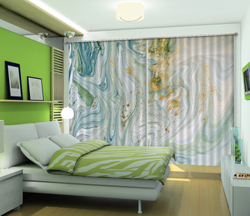 3D Green Gradient Flow 46 Curtains Drapes