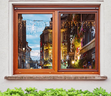 3D City Houses 42192 Christmas Window Film Print Sticker Cling Stained Glass Xmas