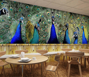 3D Blue Peacock 210 Wall Murals