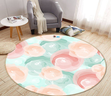 3D Pink Light Blue Ball 64175 Round Non Slip Rug Mat