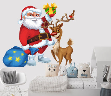 3D Santa Claus Deer Gift 41 Wall Stickers Wallpaper AJ Wallpaper