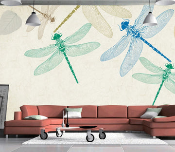 3D Blue Dragonfly WC106 Wall Murals