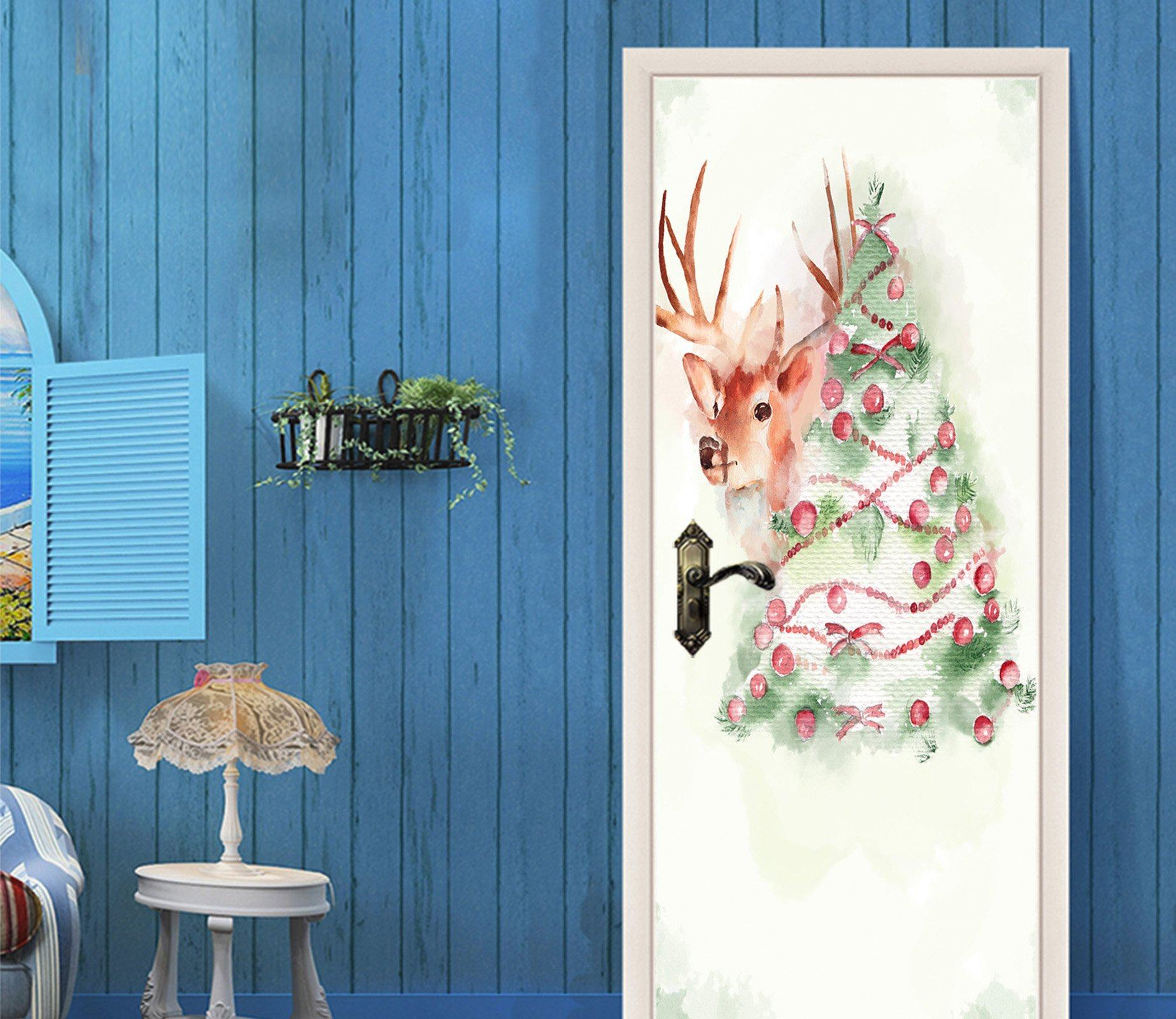 3D Christmas Xmas Tree 2 Door Mural Wallpaper AJ Wallpaper