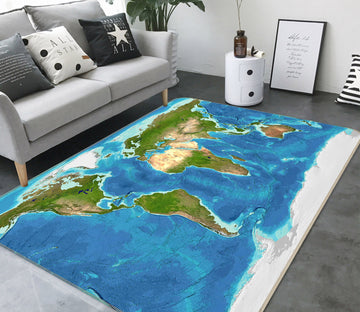 3D Blue Ocean 307 World Map Non Slip Rug Mat