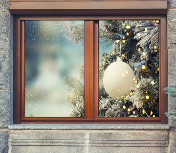 3D White Ball 42188 Christmas Window Film Print Sticker Cling Stained Glass Xmas