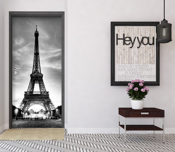 3D Black Eiffel Ttower 027 Door Mural