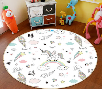 3D Rainbow Cloud Unicorn 64155 Round Non Slip Rug Mat