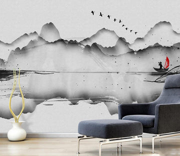 3D Ink Mountain Boat WC708 Wall Murals