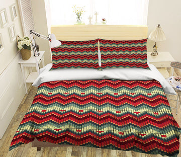 3D Christmas Red Wave 18 Bed Pillowcases Quilt