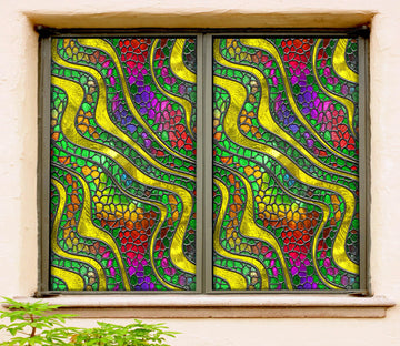3D Yellow Waves 200 Window Film Print Sticker Cling Stained Glass UV Block