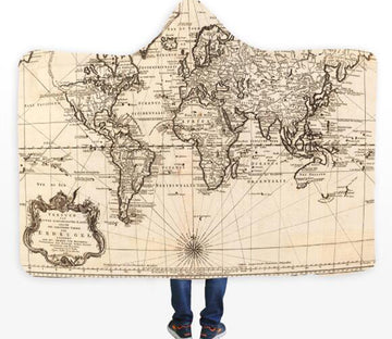 3D Sketch World Map 332 Hooded Blanket