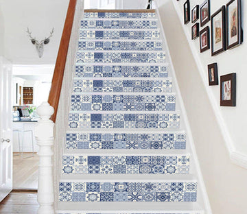 3D Blue Handmade Mosaic 088633 Marble Tile Texture Stair Risers Wallpaper AJ Wallpaper